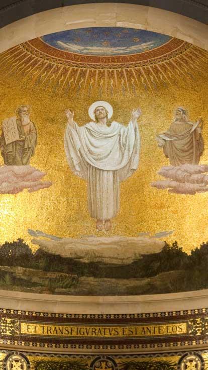 Jesus mosaic on ceiling in Nazareth church